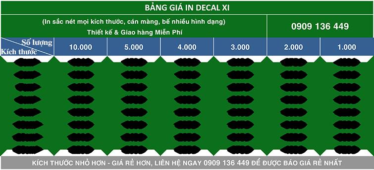 Bảng giá in decal xi giá rẻ nhất