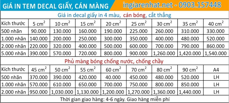 in decal giấy giá rẻ